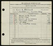 Entry card for Adomeit, George G., and Caxton Company for the 1941 May Show.