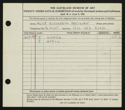Entry card for Astikian, Alice Elizabeth for the 1941 May Show.
