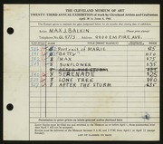 Entry card for Balkin, Max J. for the 1941 May Show.