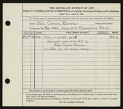 Entry card for Barron, Jane Carson for the 1941 May Show.