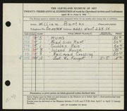 Entry card for Bartko, William for the 1941 May Show.