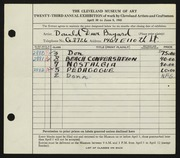Entry card for Bayard, Donald Duer for the 1941 May Show.