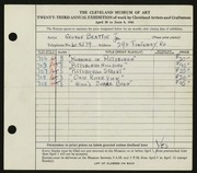 Entry card for Beattie, George for the 1941 May Show.