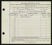 Entry card for Beatty, Richard R. for the 1941 May Show.