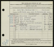 Entry card for Beckwith, Ada Bell for the 1941 May Show.