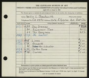 Entry card for Beckwith, Nell L. for the 1941 May Show.