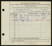 Entry card for Blazys, Alexander for the 1941 May Show.