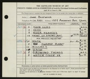 Entry card for Bostwick, Jane for the 1941 May Show.
