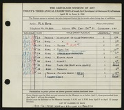 Entry card for Boyd, Mark Alexander for the 1941 May Show.