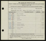 Entry card for Boynton, Henry Percy for the 1941 May Show.