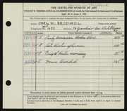 Entry card for Broemel, Carl William for the 1941 May Show.