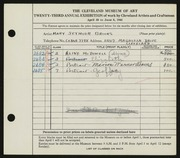 Entry card for Brooks, Mary Semour for the 1941 May Show.