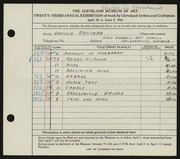 Entry card for Brucker, Edmund for the 1941 May Show.