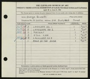 Entry card for Brunetti, George for the 1941 May Show.