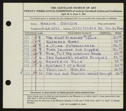 Entry card for Bryson, Marion Camp for the 1941 May Show.