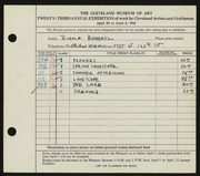 Entry card for Bundasz, Rudolph for the 1941 May Show.