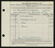 Entry card for Campbell, Richard H. for the 1941 May Show.