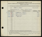 Entry card for Carlo, Fred C.  for the 1941 May Show.