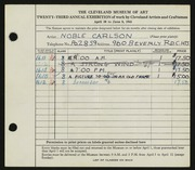 Entry card for Carlson, Noble Donald for the 1941 May Show.