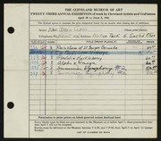 Entry card for Cass, Katherine Dorn for the 1941 May Show.