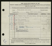 Entry card for Chamberlin, Price Albert for the 1941 May Show.