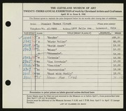 Entry card for Clough, Stanley T. for the 1941 May Show.