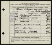 Entry card for Clough, Thomas for the 1941 May Show.