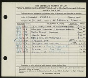Entry card for Combes, Willard Wetmore for the 1941 May Show.