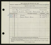 Entry card for Cunningham, Mary Phillips for the 1941 May Show.