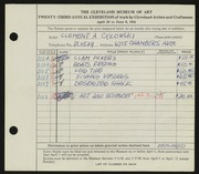 Entry card for Cykowski, Clement Allen for the 1941 May Show.