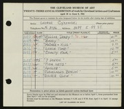Entry card for Cykowski, George C. for the 1941 May Show.