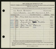 Entry card for Dresser, Ralph W. for the 1941 May Show.