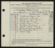 Entry card for Eastman, William Joseph for the 1941 May Show.