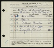 Entry card for English, Katherine C. for the 1941 May Show.