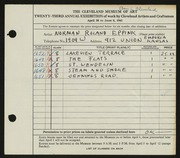 Entry card for Eppink, Norman Roland for the 1941 May Show.