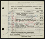 Entry card for Erickson, Ruth M. for the 1941 May Show.