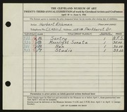 Entry card for Erisman, Herbert for the 1941 May Show.