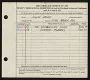 Entry card for Ersek, Joseph Francis for the 1941 May Show.