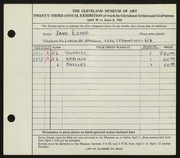 Entry card for Estep, Jane for the 1941 May Show.