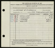 Entry card for Eterovich, Anthony William for the 1941 May Show.