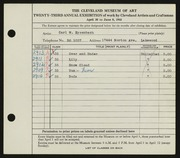 Entry card for Eysenbach, Carl W. for the 1941 May Show.