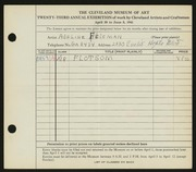 Entry card for Felsman, Adeline for the 1941 May Show.