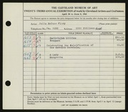 Entry card for Flory, Julia McCune for the 1941 May Show.
