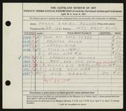 Entry card for Fousek, Frank Daniel for the 1941 May Show.