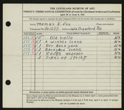 Entry card for Fox, Thomas F. for the 1941 May Show.