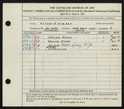 Entry card for Graber, Arthur C. for the 1941 May Show.