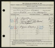 Entry card for Grauer, Natalie Eynon for the 1941 May Show.