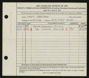 Entry card for Graziani, Sante for the 1941 May Show.