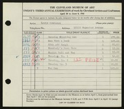 Entry card for Grebenak, Louis Arthur for the 1941 May Show.