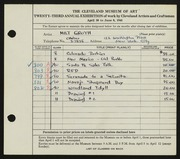 Entry card for Groth, Milt for the 1941 May Show.